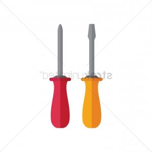 Flat Head Screwdriver Vector: Flat Bladed And Phillips Head Cross Screwdriver Vector