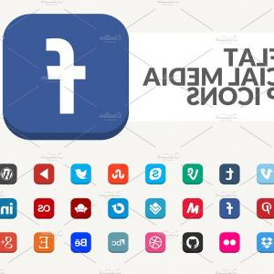Media Vector Icon Magazine: Flat Social Media App Icons