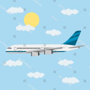 Vector Airplane Clouds: Airplane Blue Cartoon Jetliner In Clouds Vector Clipart