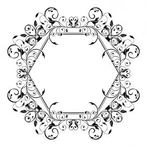 Floral Filigree Vector: Floral Decorative Frame Filigree Hexagon Ornament Vector