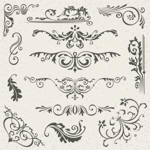 Medieval Frames Vector: Flourish Border Corner And Frame Elements Vector
