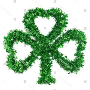 Vector Shamrock Ivory Color: Fluffy Three Leaf Handmade Irish Shamrock