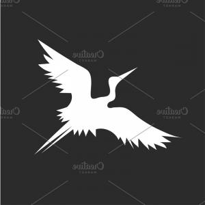 White Bird Vector: Flying Stork Bird Vector Minimalism In Design Illustration