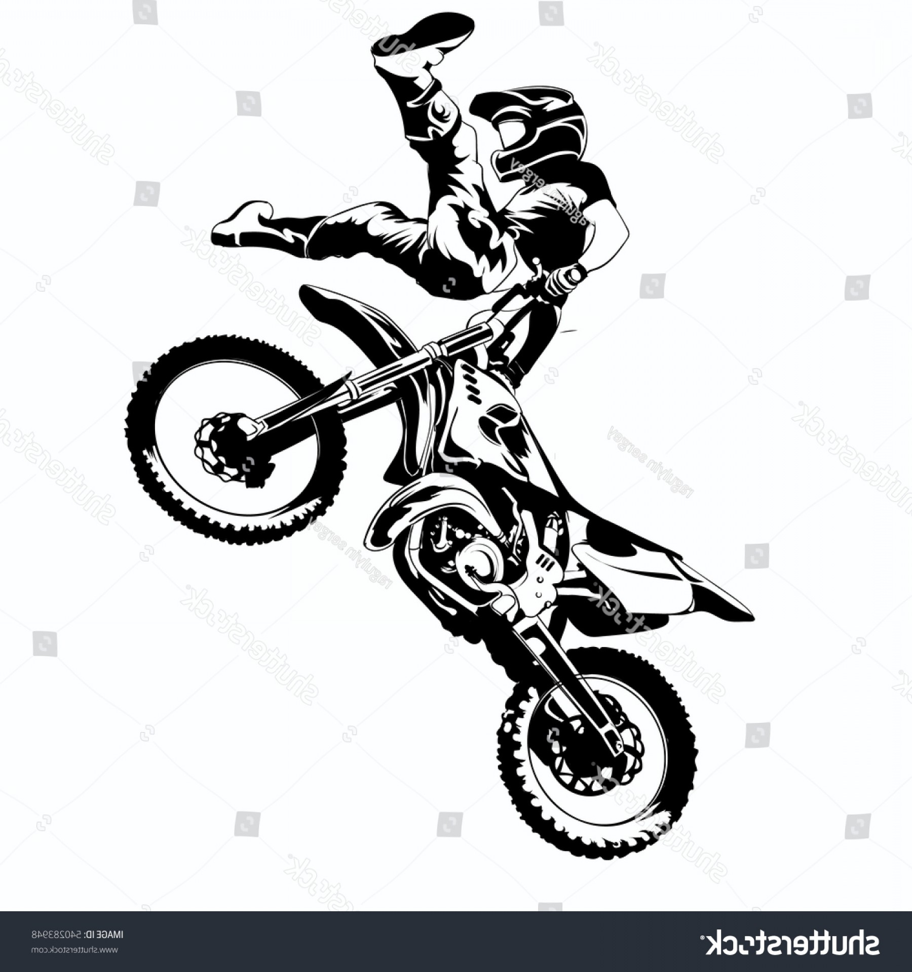 Dirt Bike Gas Can Vector: Fmx Trick Rider On White Background