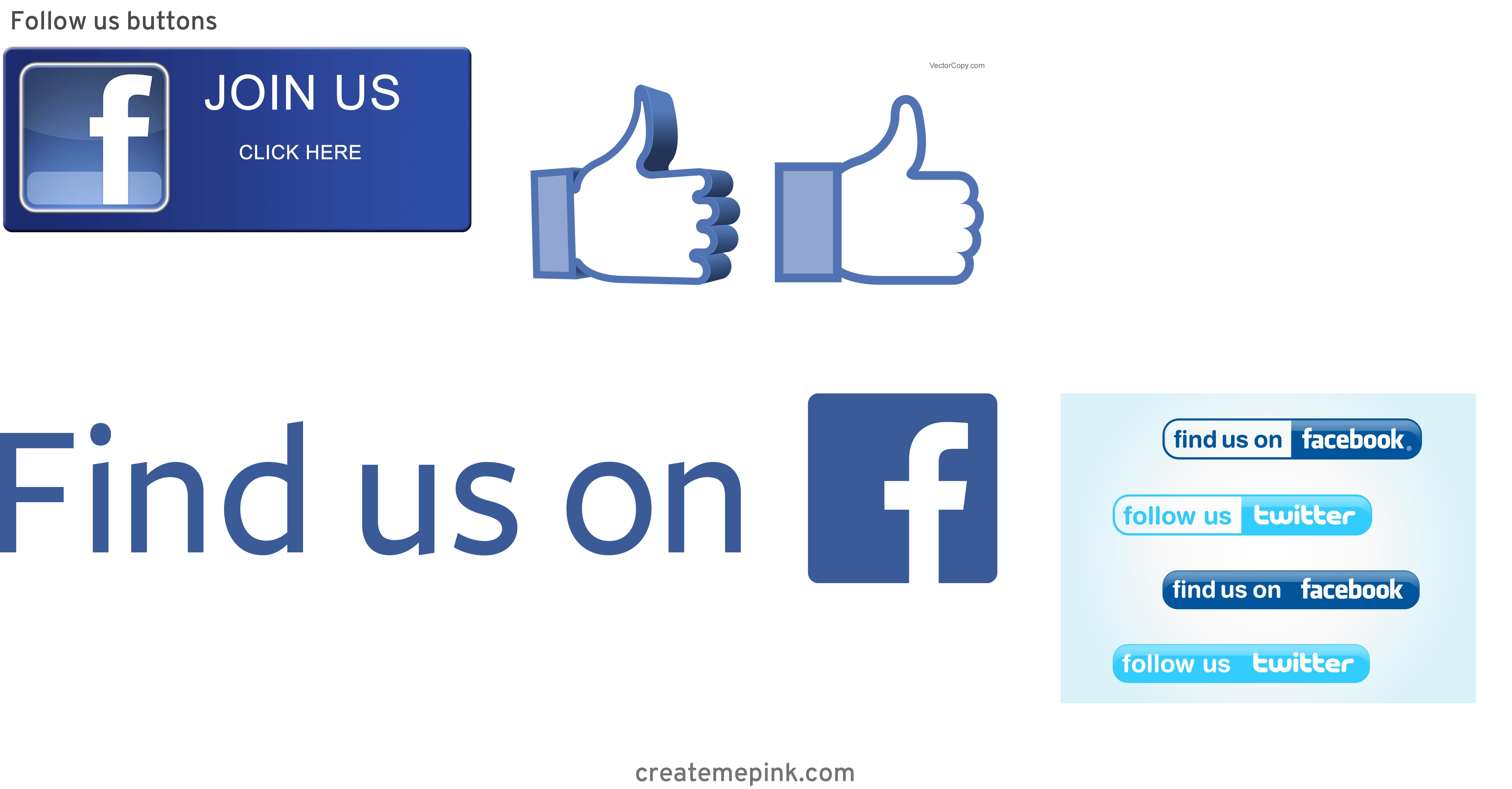 Official Like Us On Facebook Logo Vector: Follow Us Buttons