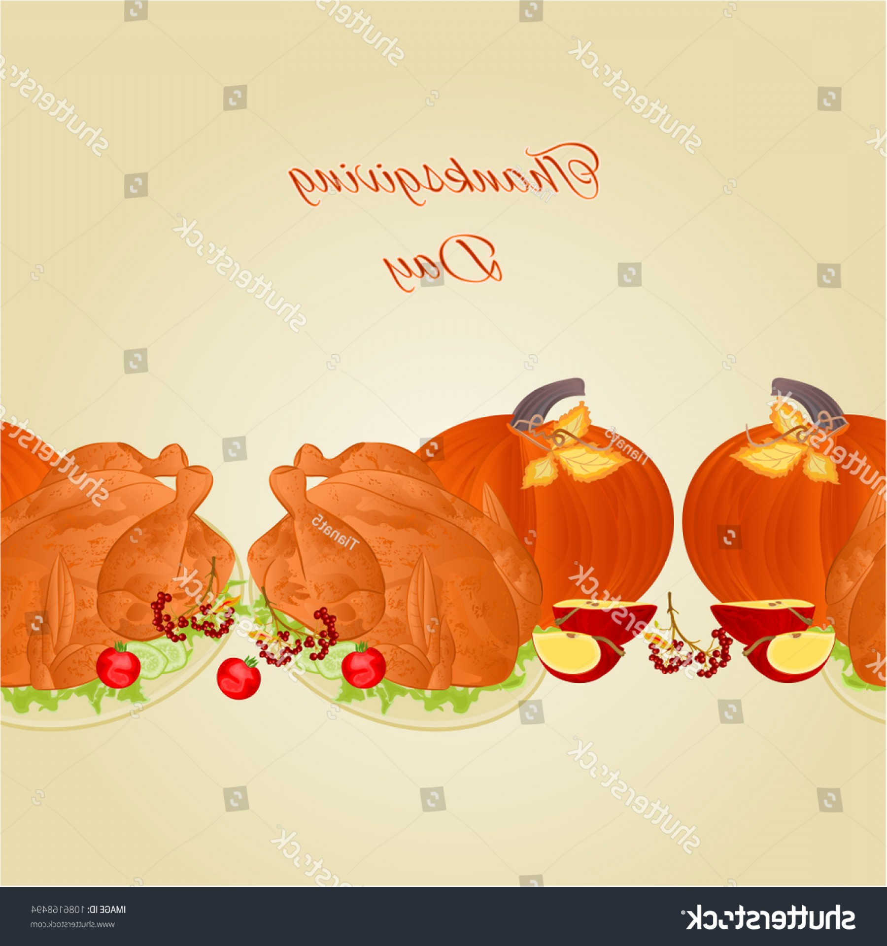 Thanksgiving Border Vector: Food Border Seamless Background Thanksgiving Day