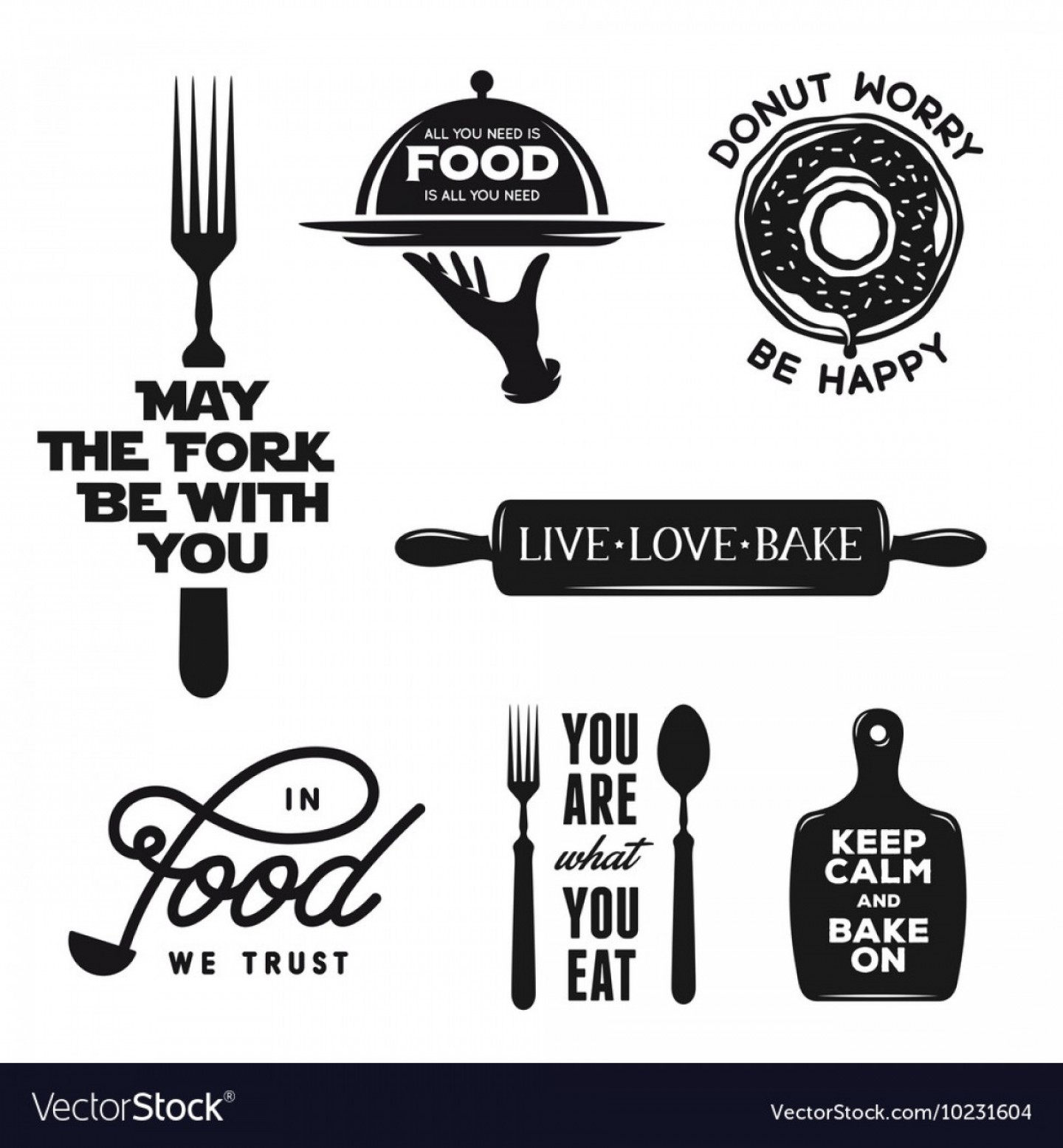 Vector Quotes: Food Related Typography Set Quotes About Cooking Vector