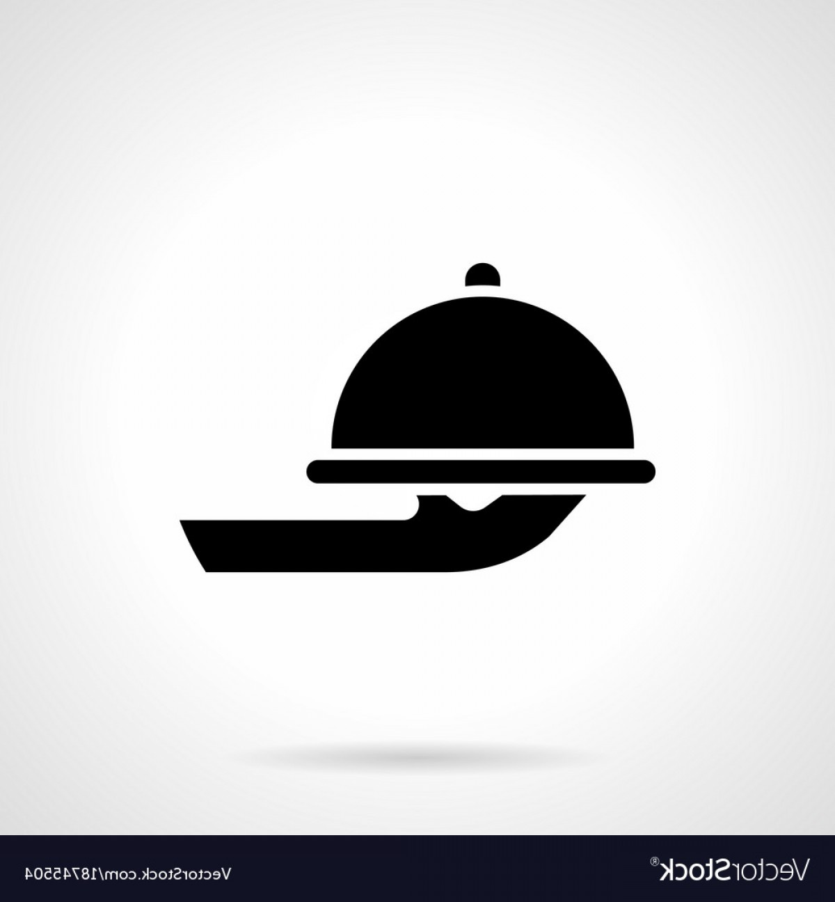 Serving Vector: Food Serving Tray Glyph Style Icon Vector