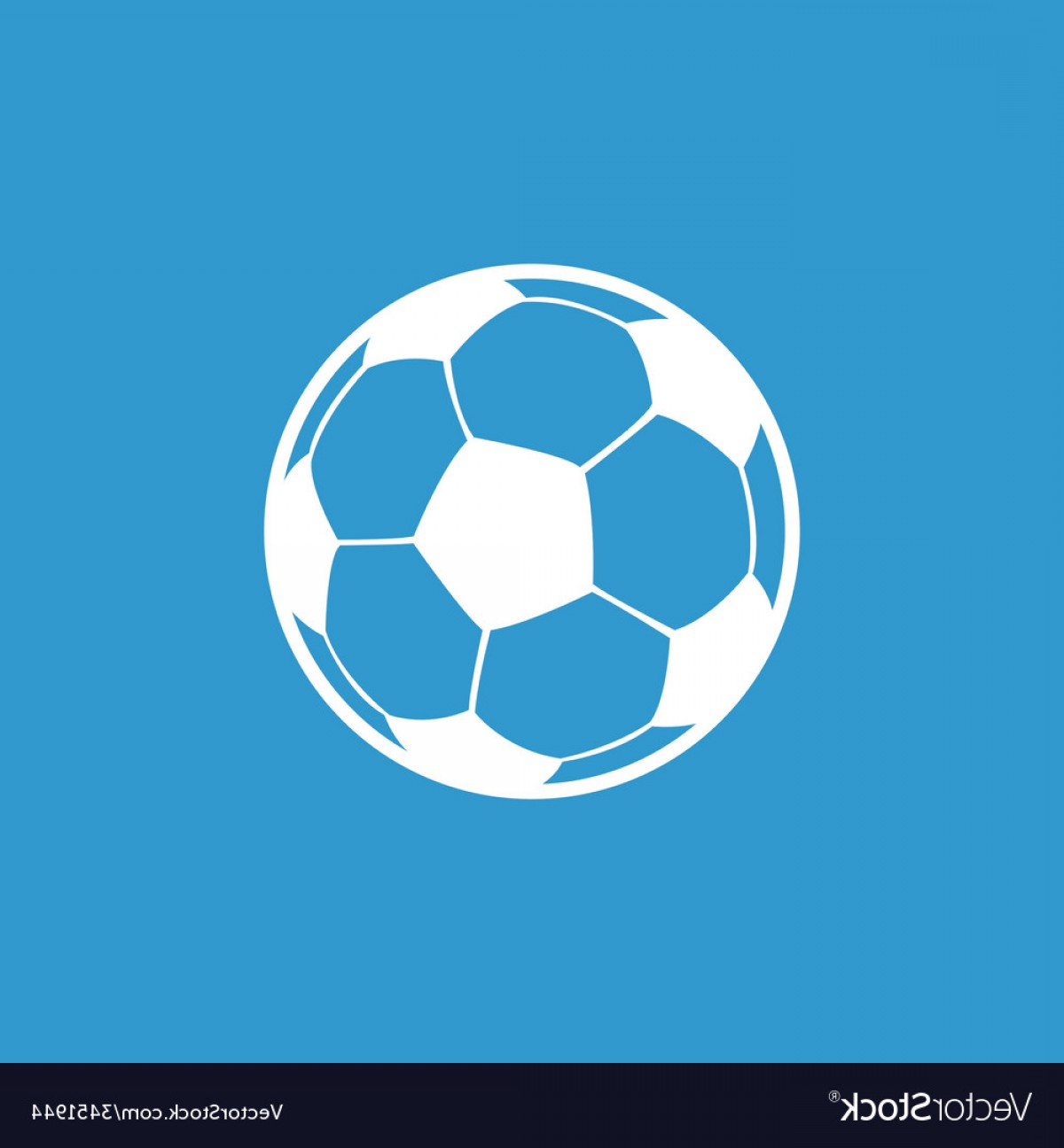 Soccer Blue Background Vector Graphics: Football Ball Icon White On The Blue Background Vector