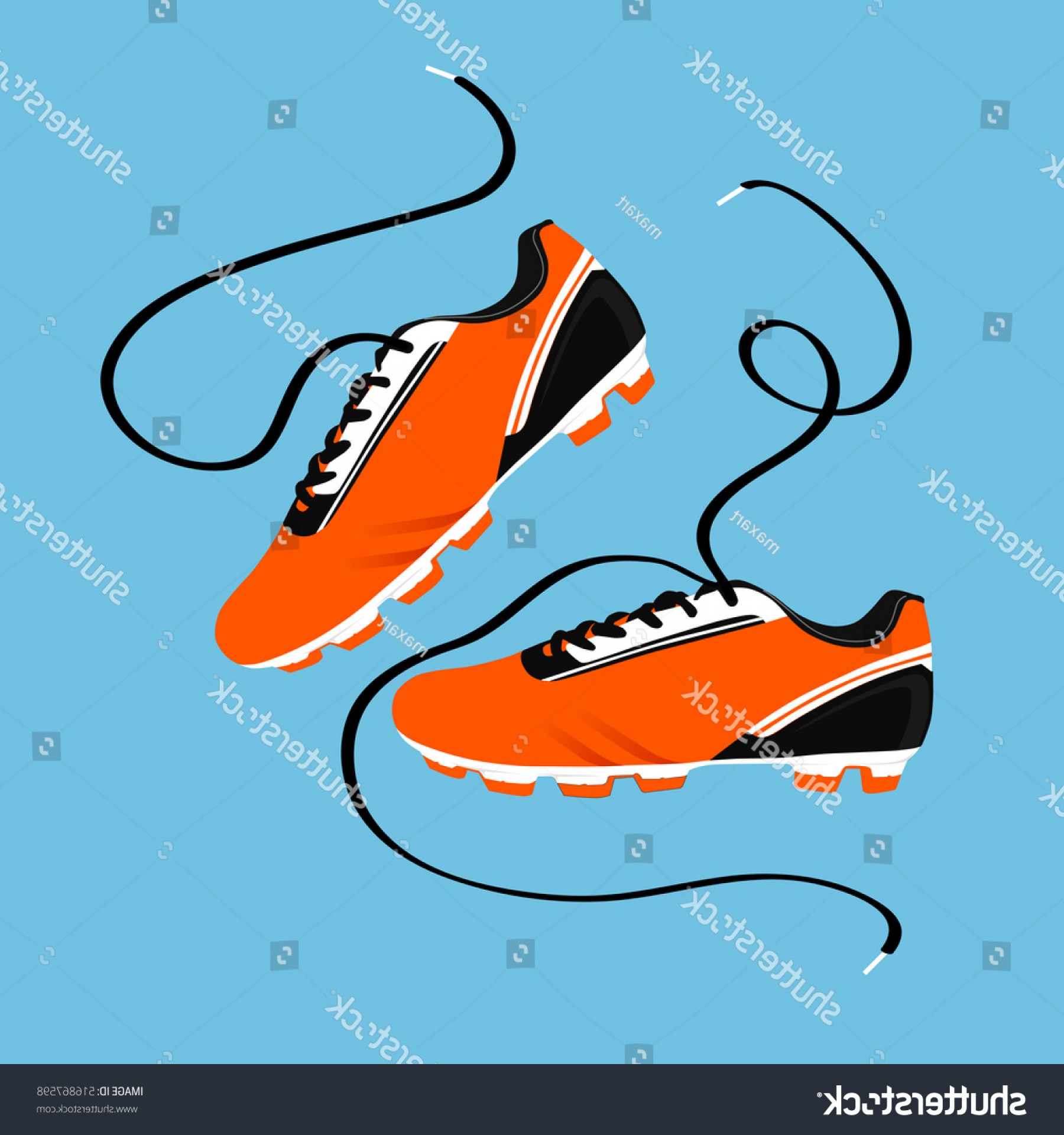 Vector Football Laces And Lines: Football Boots Soccer Shoes Vector