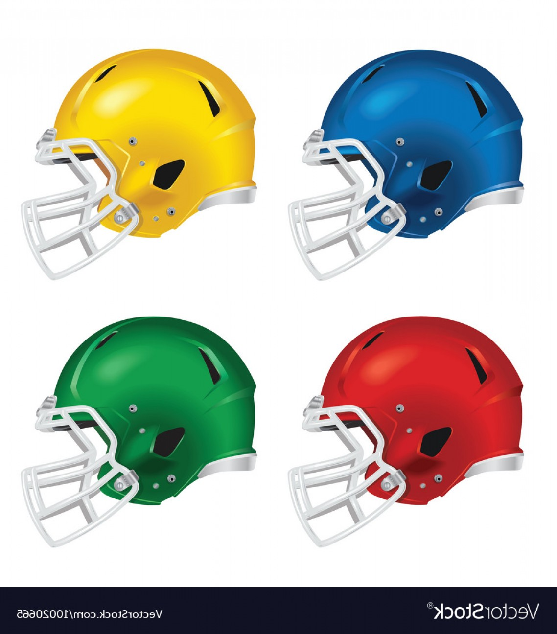 Distressed Football Helmet Vector: Football Helmets With White Facemasks Vector