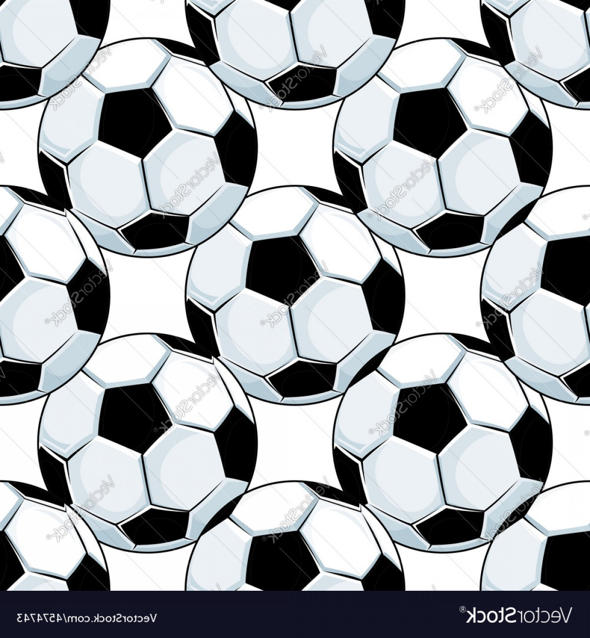Vector Soccer Ball Pattern: Football Or Soccer Balls Seamless Pattern Vector
