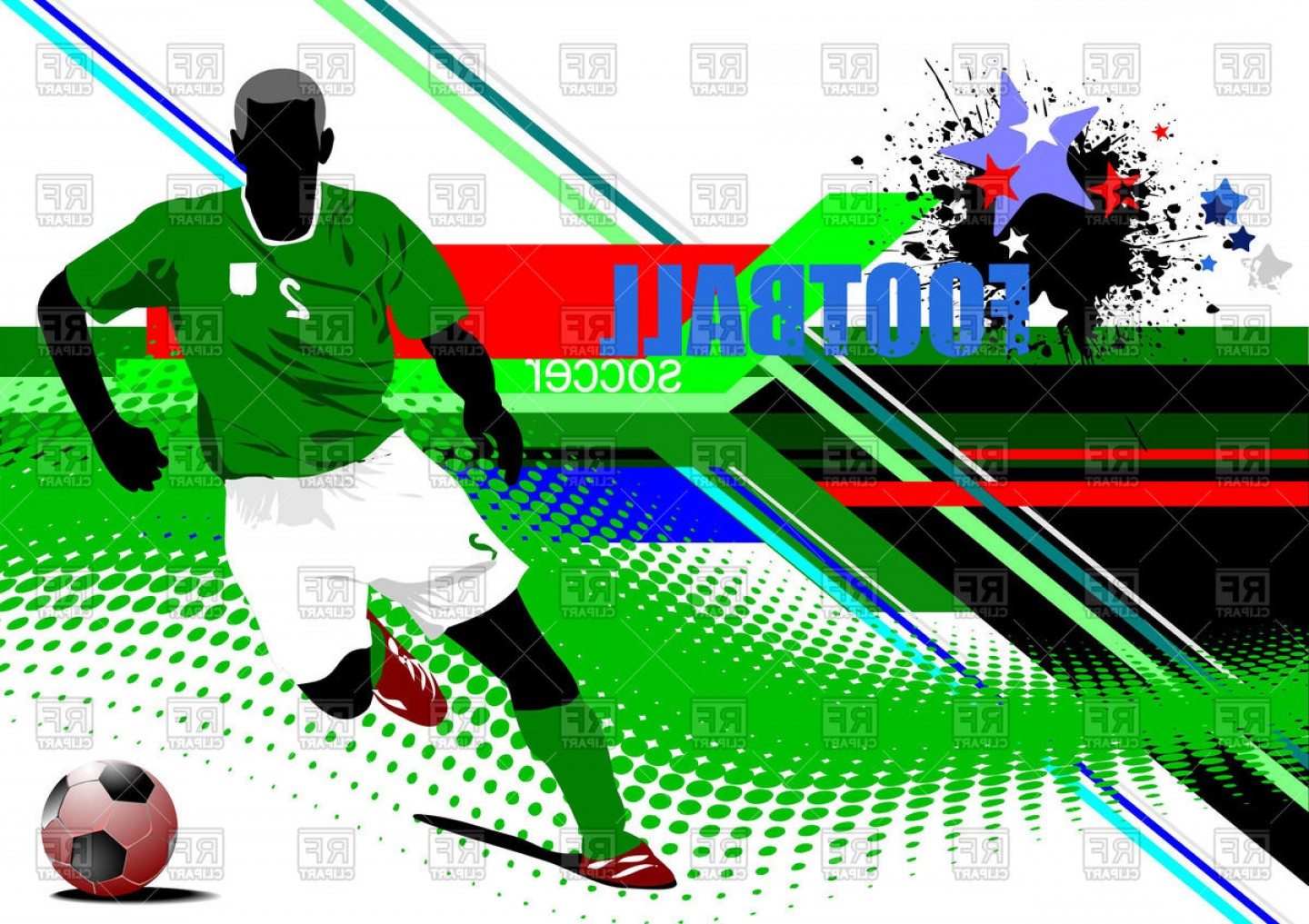 Abstract Football Vector Outline: Football Poster With Soccer Player On Abstract Background Vector Clipart