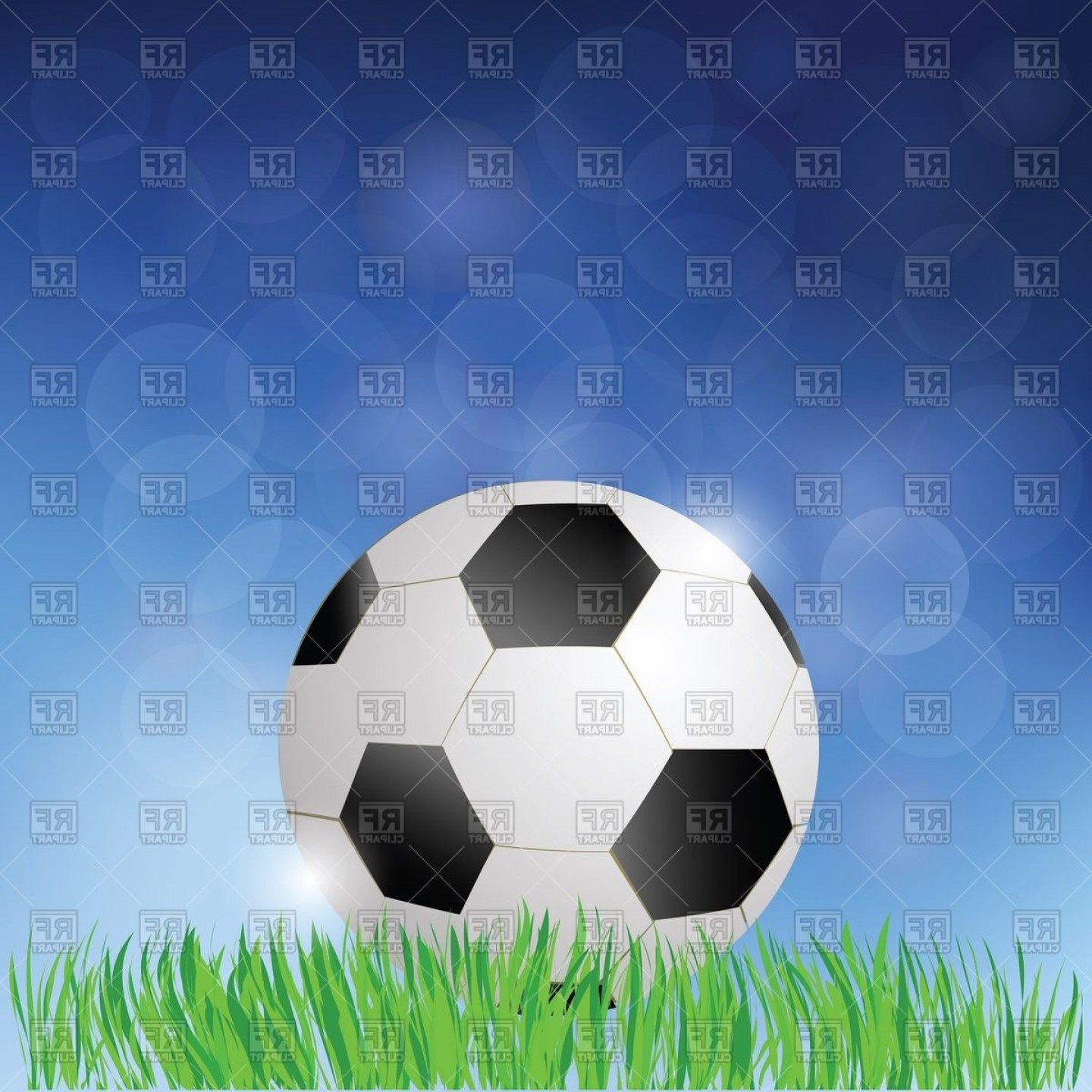 Soccer Blue Background Vector Graphics: Football Soccer Ball On A Grass Against Blue Background Vector Clipart