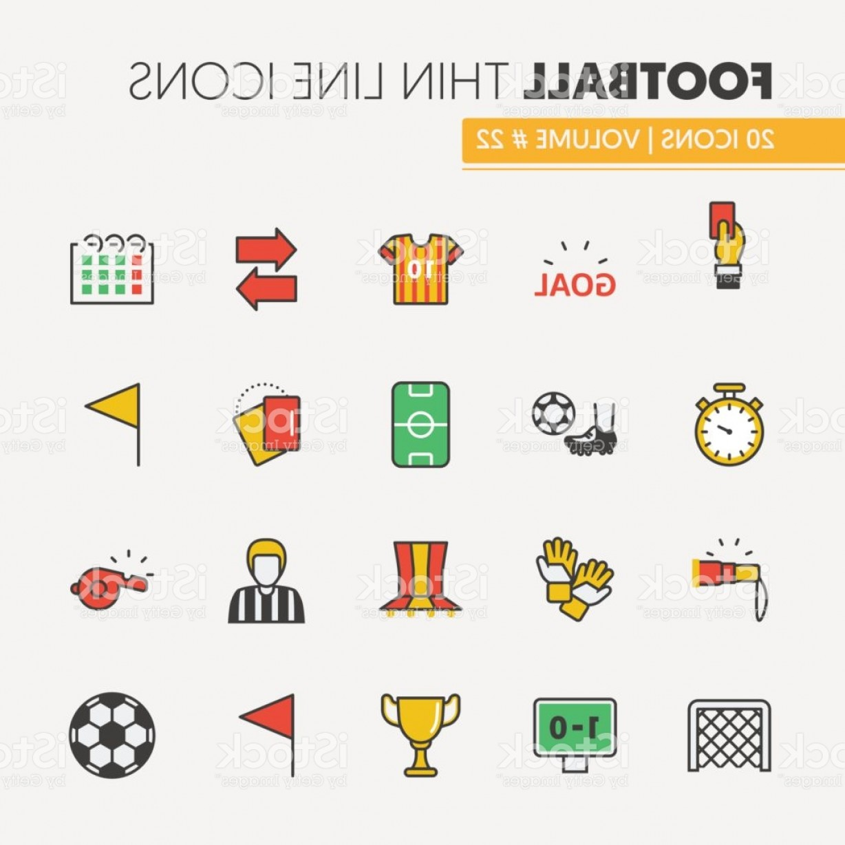 Vector Football Laces And Lines: Football Soccer Linear Thin Line Icons Set Gm