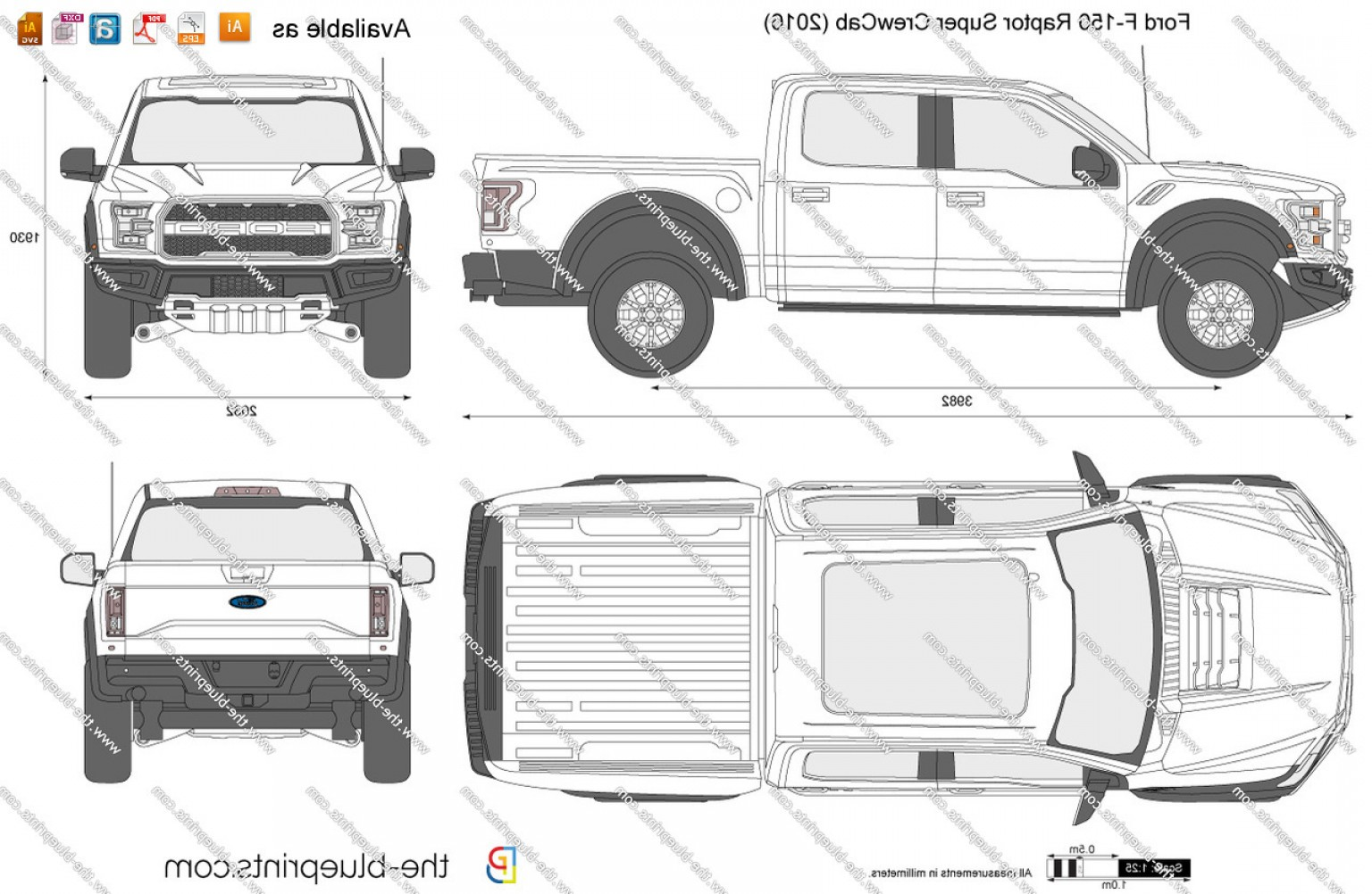 F150 Vector: Ford F Commercial Ford F Raptor Super Crewcab Vector Drawing