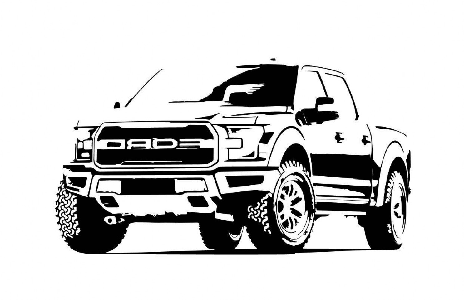 F150 Vector: Ford F Outline Bw Front Side View