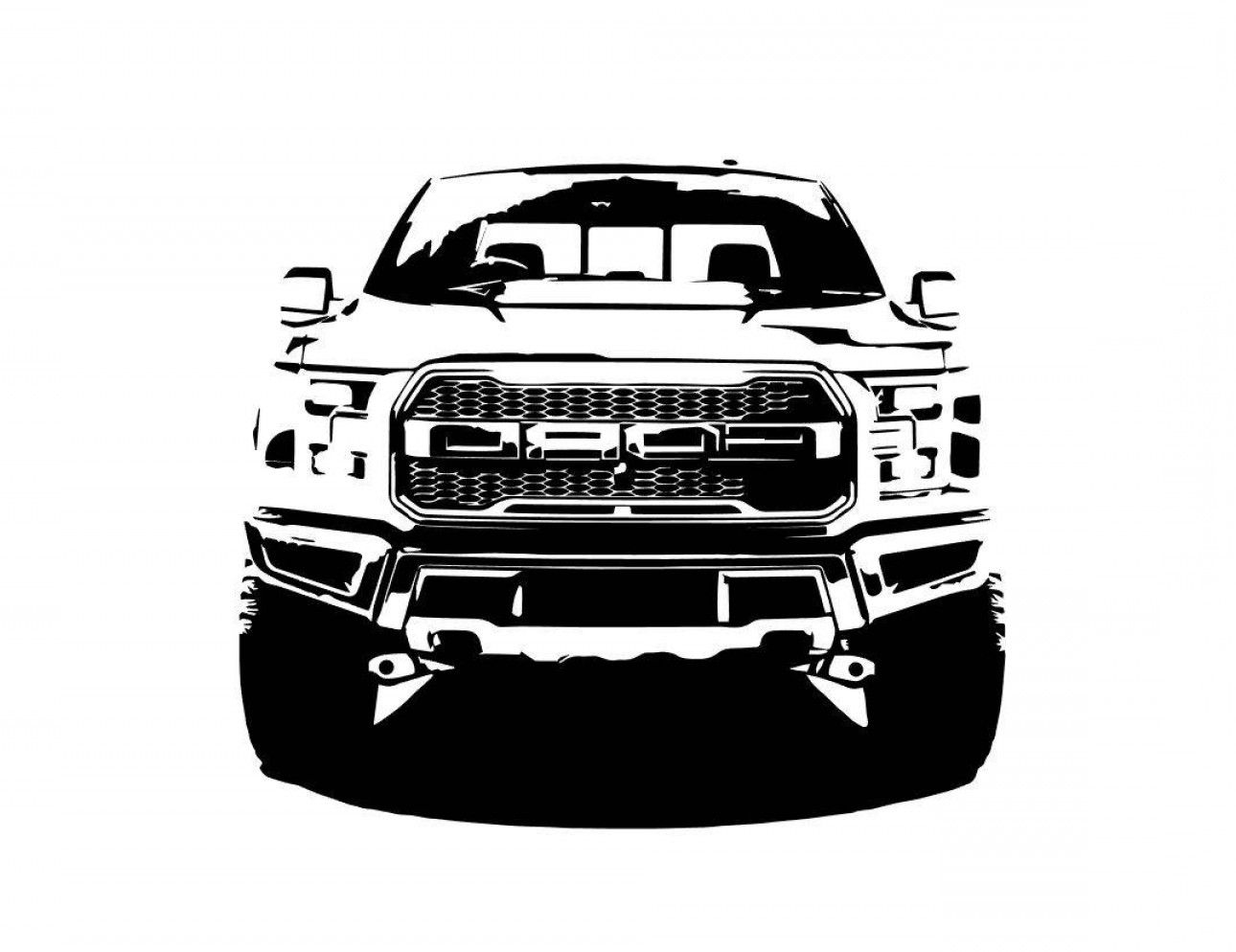 F150 Vector: Ford F Raptor Front Bw Line Drawing