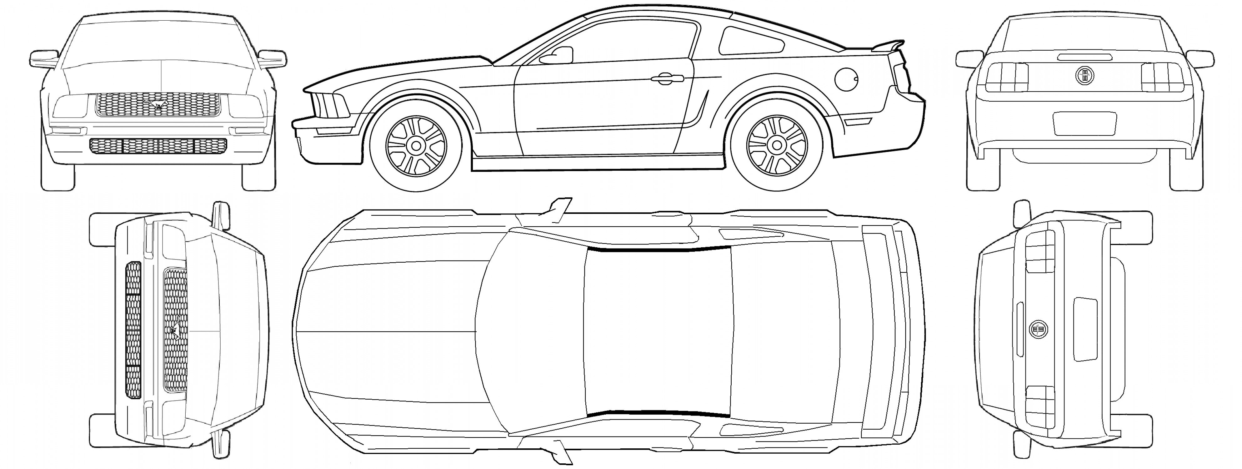 2005 Ford Mustang GT Drawing Vector: Ford Mustang V Coupe Blueprints