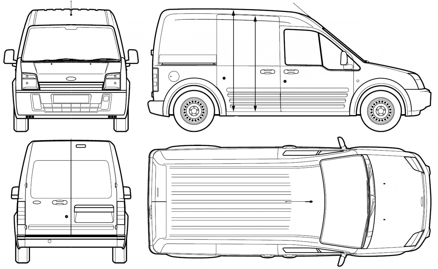 Ford Vector Art: Ford Transit Connect Van Blueprints