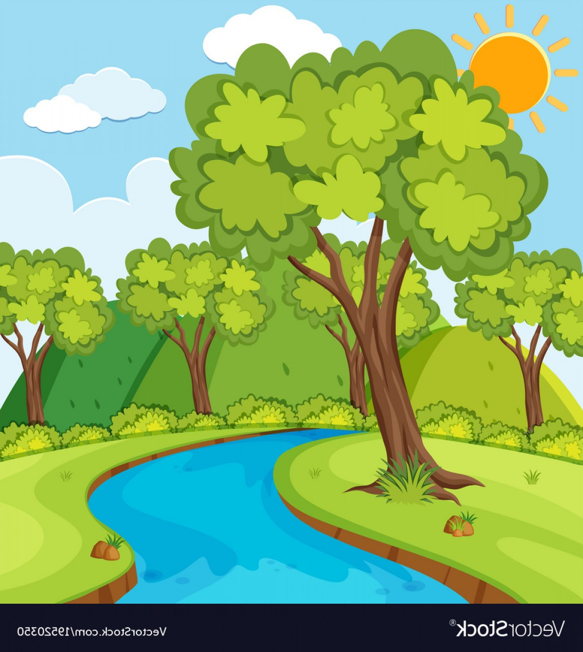 River Vector Art: Forest Scene With Trees And River Vector
