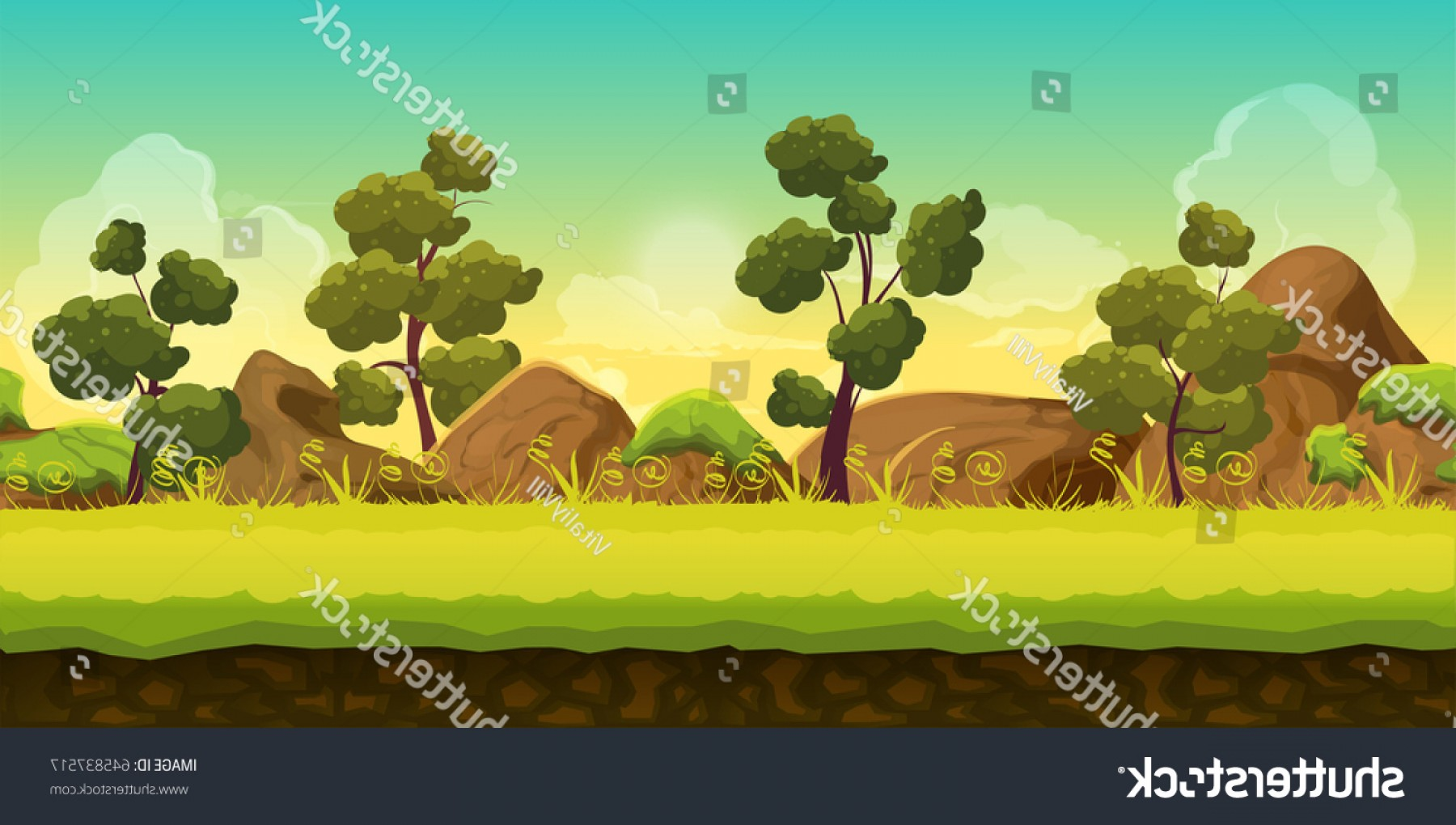Vector Applications On Computers: Forest Stones D Game Landscape Games