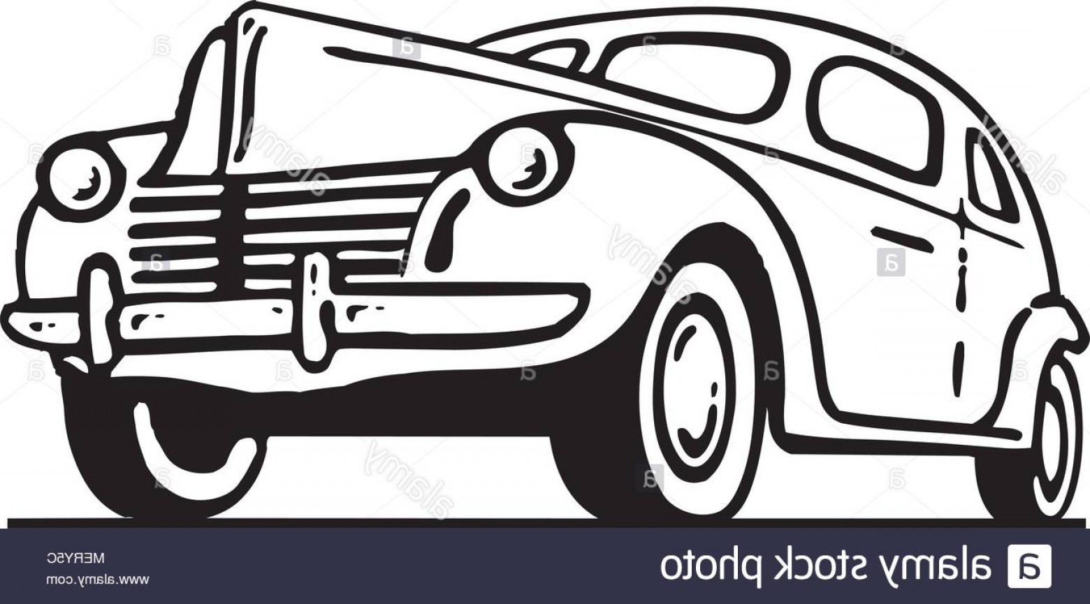 Ford Vector Art: Forties Ford Retro Ad Art Illustration Image