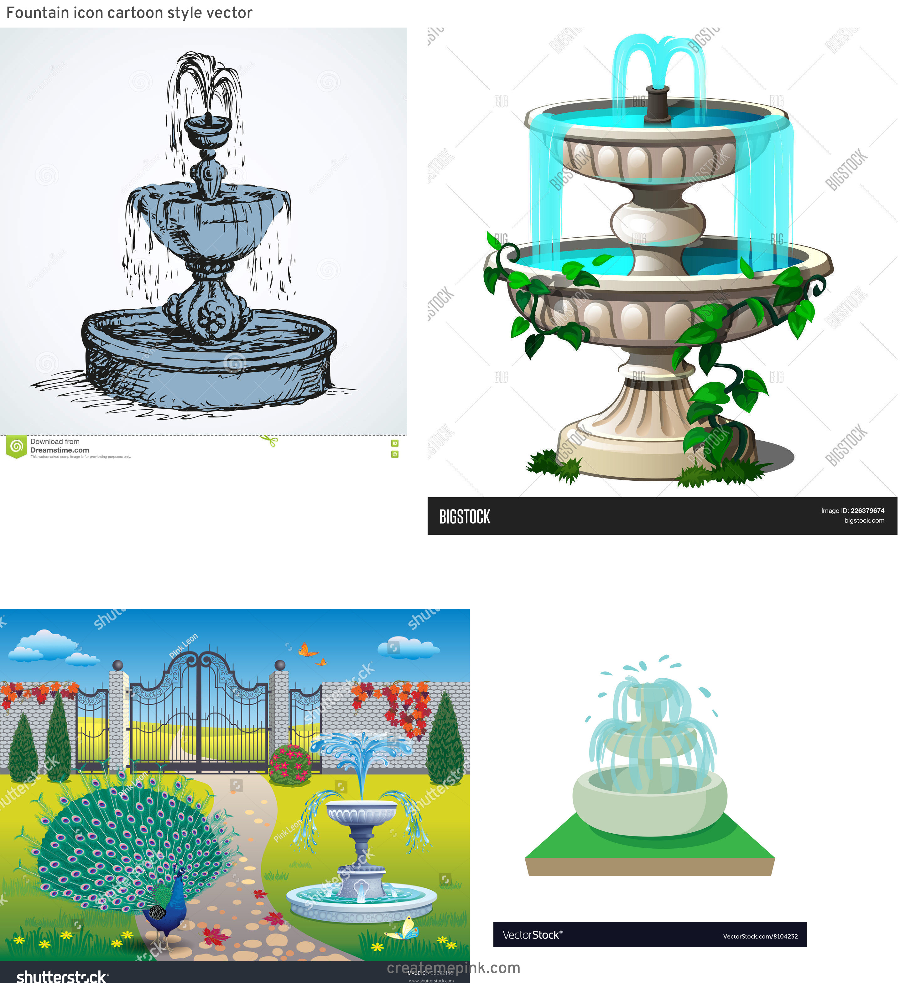 Pretty Fountain Vectors: Fountain Icon Cartoon Style Vector