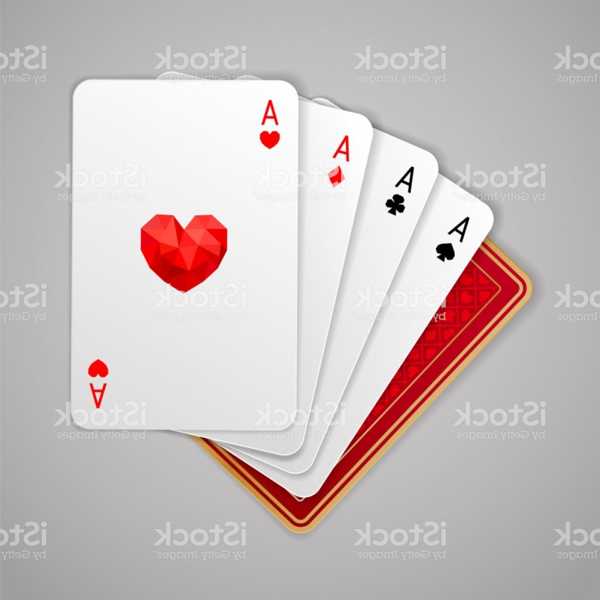 Poker Hand Vector: Four Aces In Five Playing Card Winning Poker Hand Gm