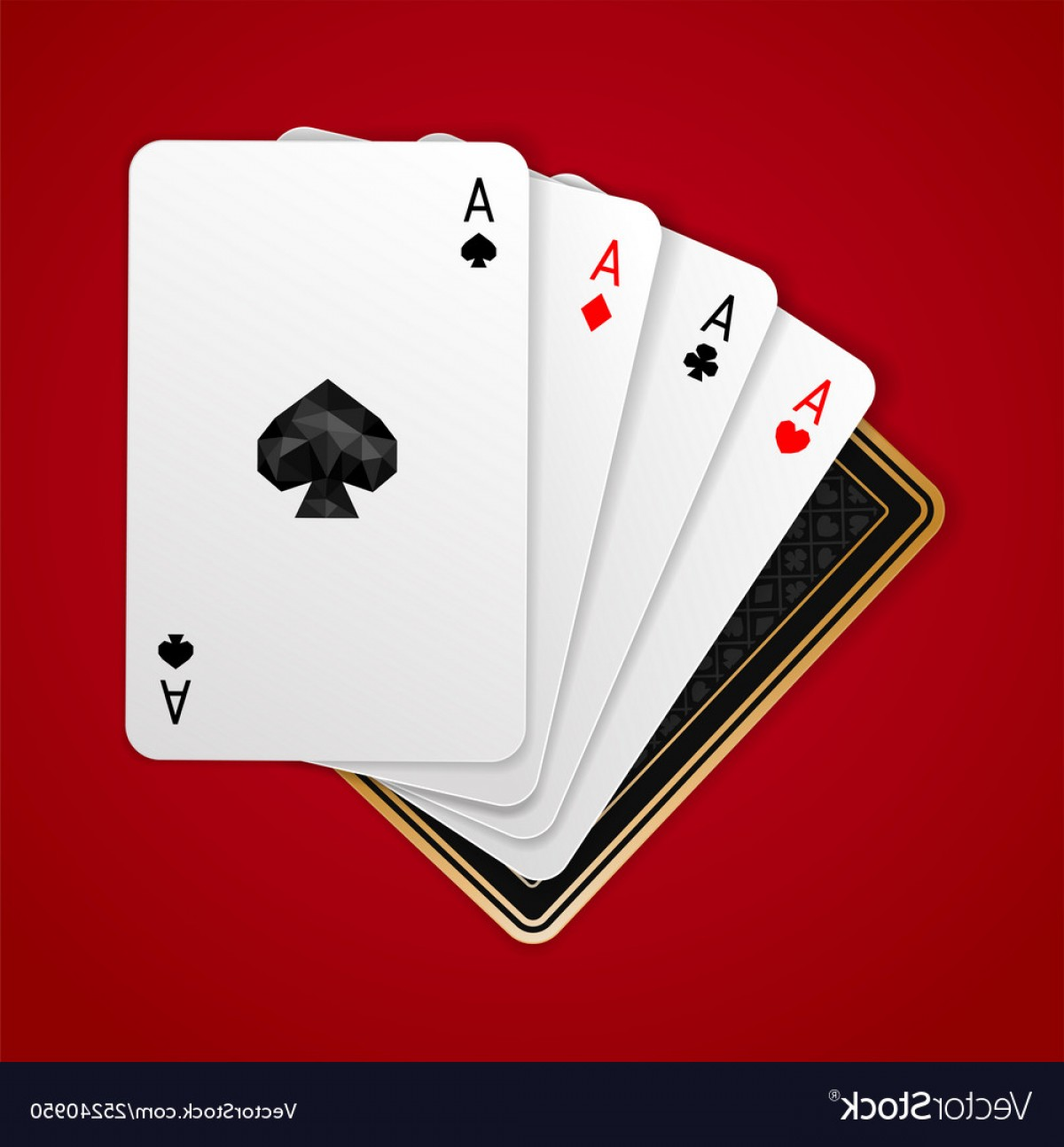 Poker Hand Vector: Four Aces In Five Playing Card Winning Poker Hand Vector