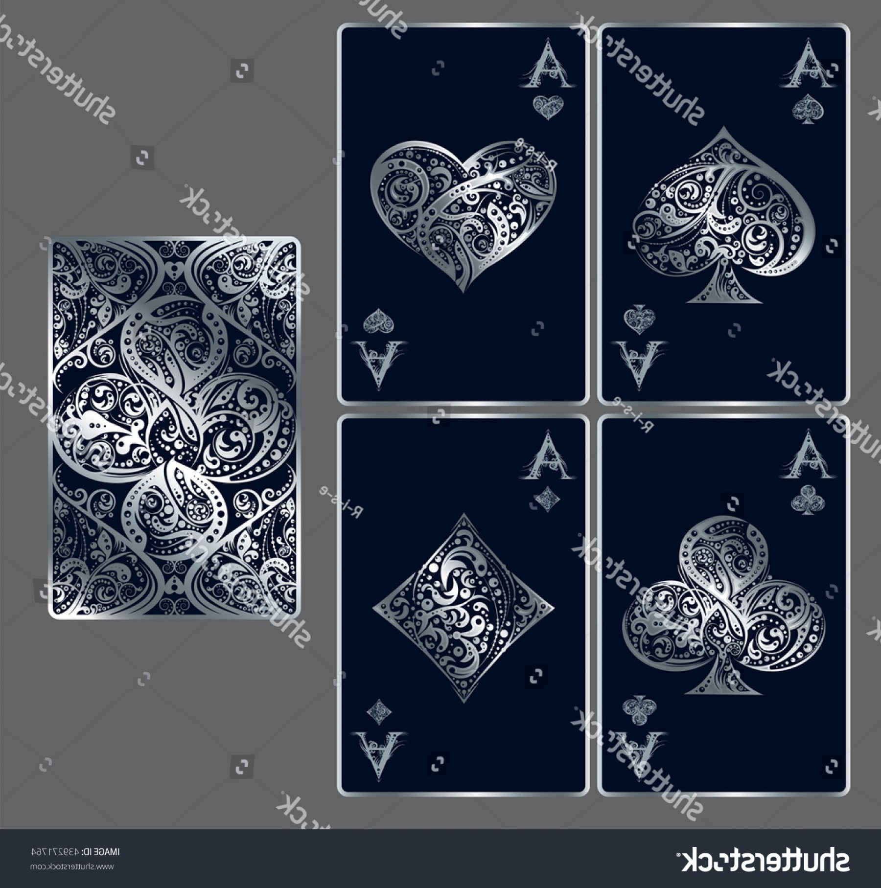Playing Card Design Vector Illustration: Four Aces Set Vector Playing Card
