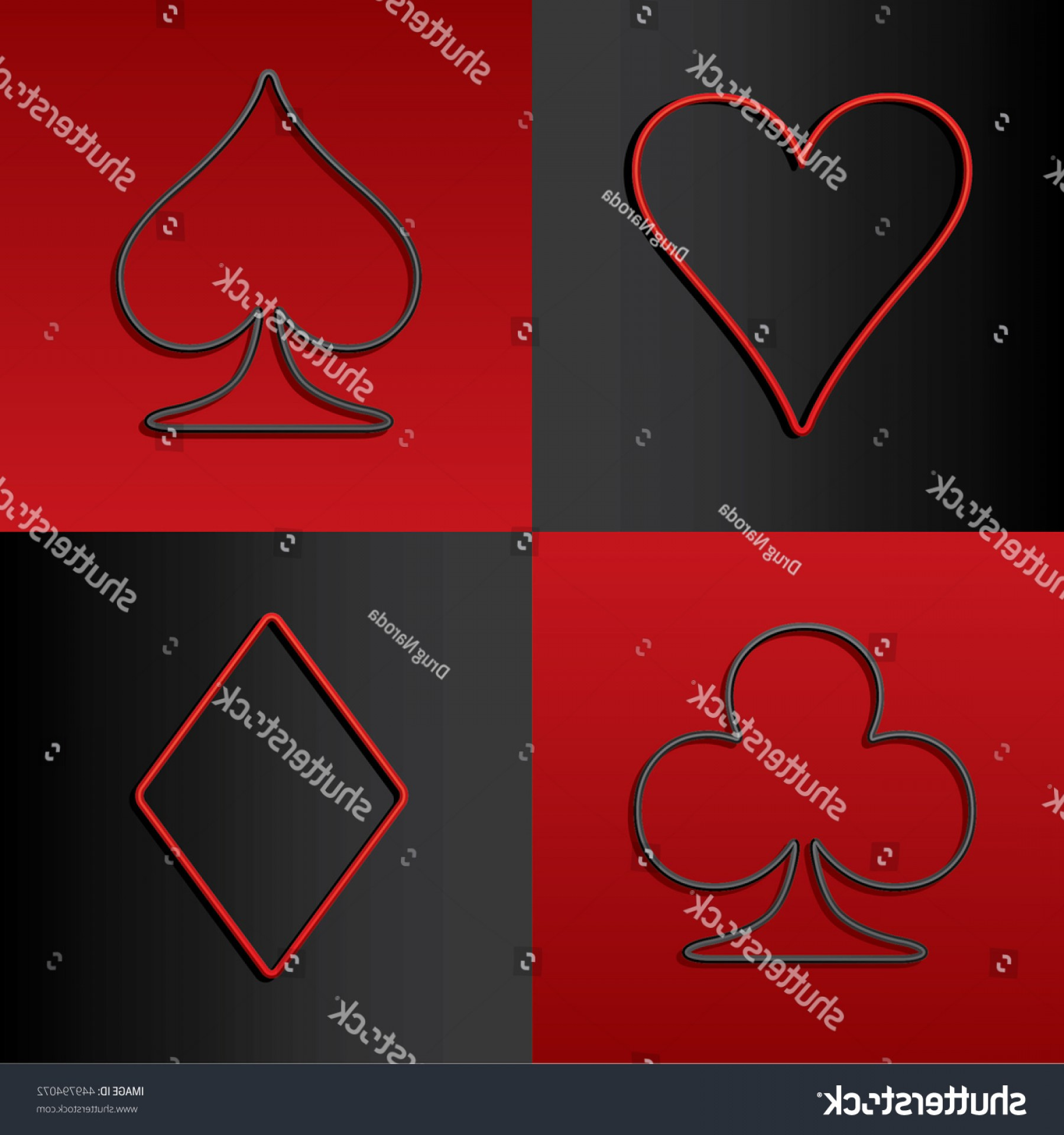 Card Suits Vector Outlines: Four Card Suits Hearts Spade Clubs