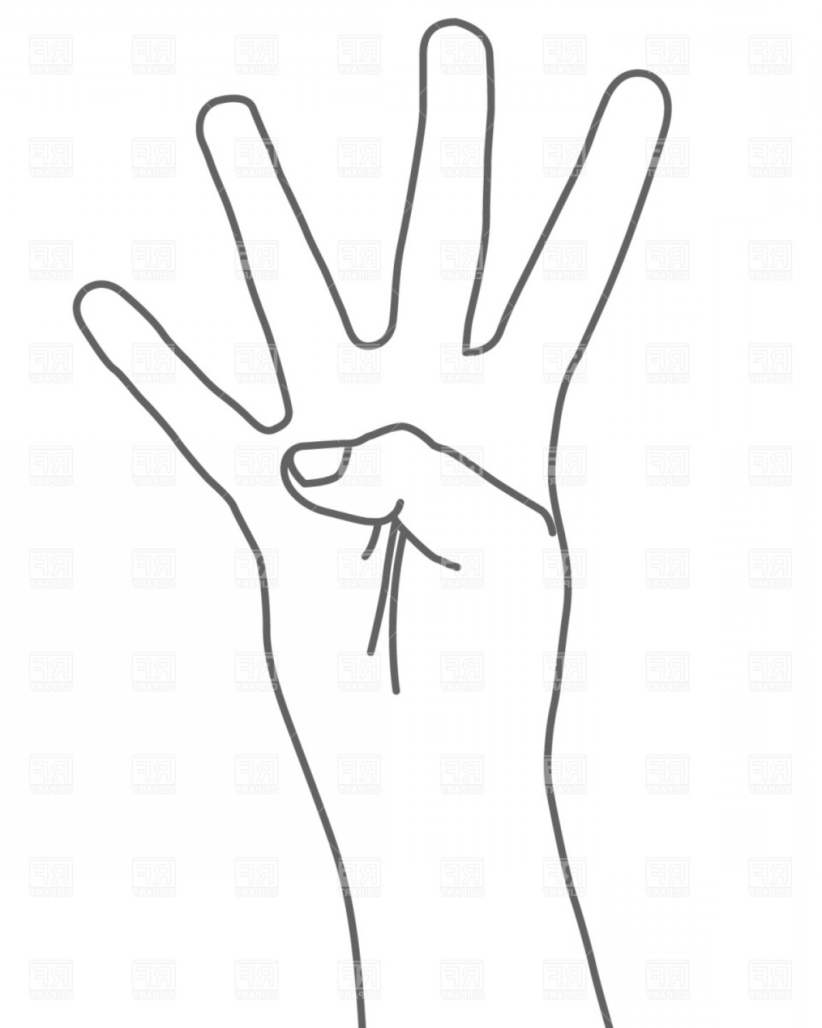 Hand Vector Clip Art: Four Fingers Hand Sign Vector Clipart
