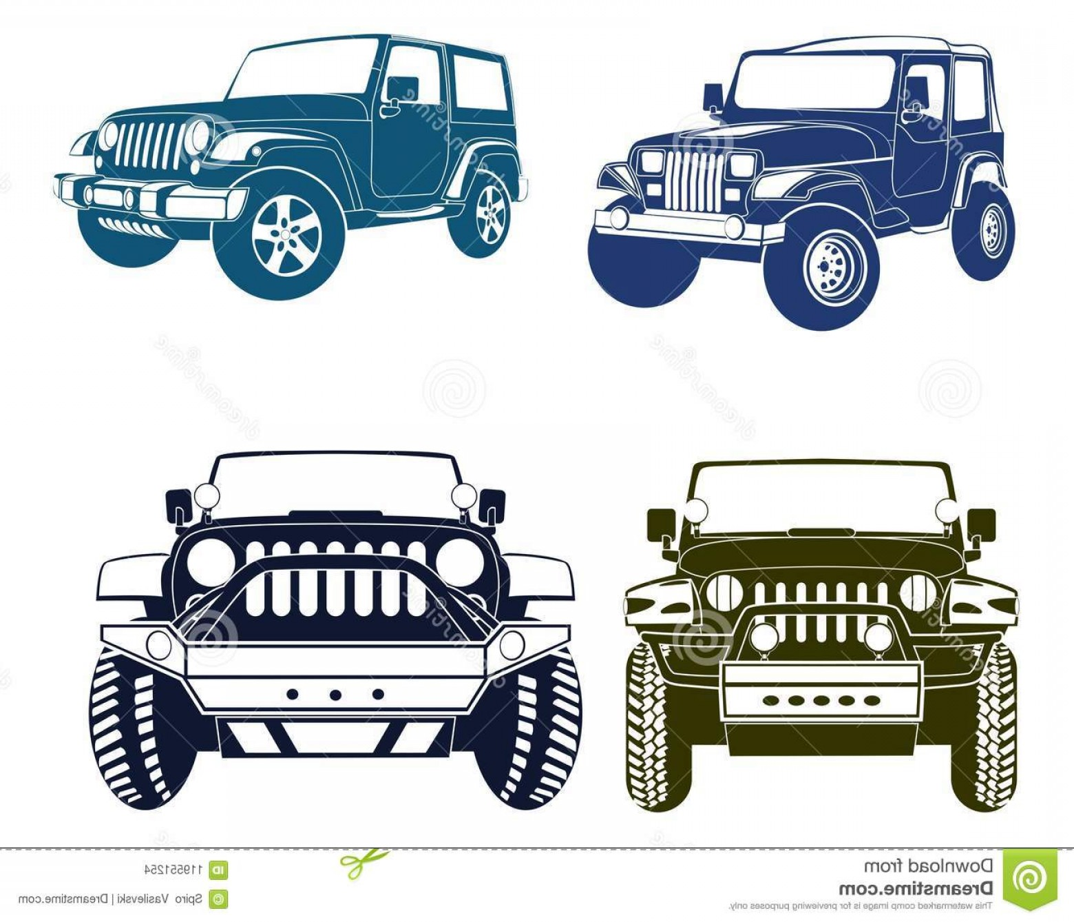 Jeep Tire Vector: Four Vector Jeep Silhouettes Four Vector Jeep Silhouettes Old New Models Wrangler Series Image