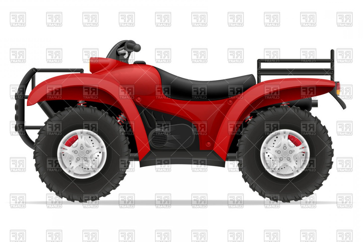 ATV Vector Clip Art: Four Wheel All Terrain Vehicle Red Atv Side View Vector Clipart