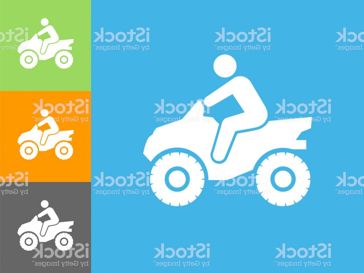 4 Wheeler Vector Art: Four Wheeler Flat Icon On Blue Background Gm