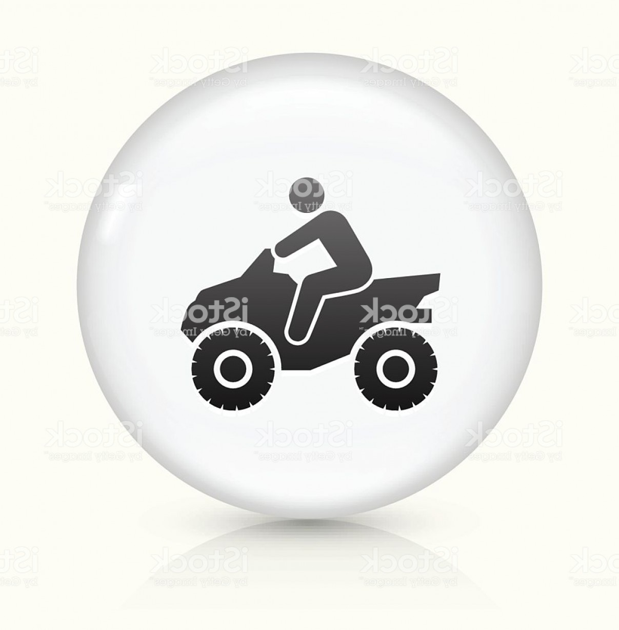4 Wheeler Vector Art: Four Wheeler Icon On White Round Vector Button Gm