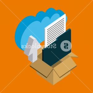 Open Arrow Vector: Folder Papers Arrow Upload Dates Box Open Vector Illustration Cloud Storage Isometric Hqxgggqmjhjazbkr