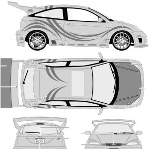 2005 Ford Mustang GT Drawing Vector: Vector Line Drawing Of A Ford Cobra Mustang