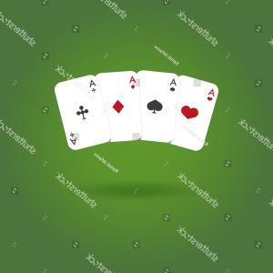 Poker Hand Vector: Four Aces Winning Poker Hand Vector