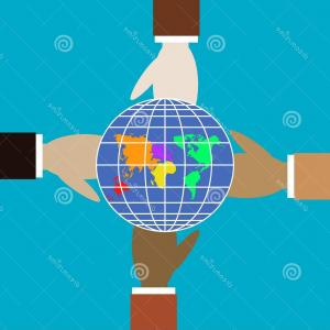 One Color Simple Vector Globe: Four Hands Different Colors Hold Globe Four Hands Different Colors Hold Globe Friendship Symbol Trendy Flat Symbol Image