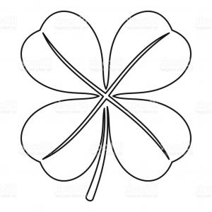 Four Leaf Clover Vector Art Black And White: Stock Illustration Four Leaf Clover Icon Simple