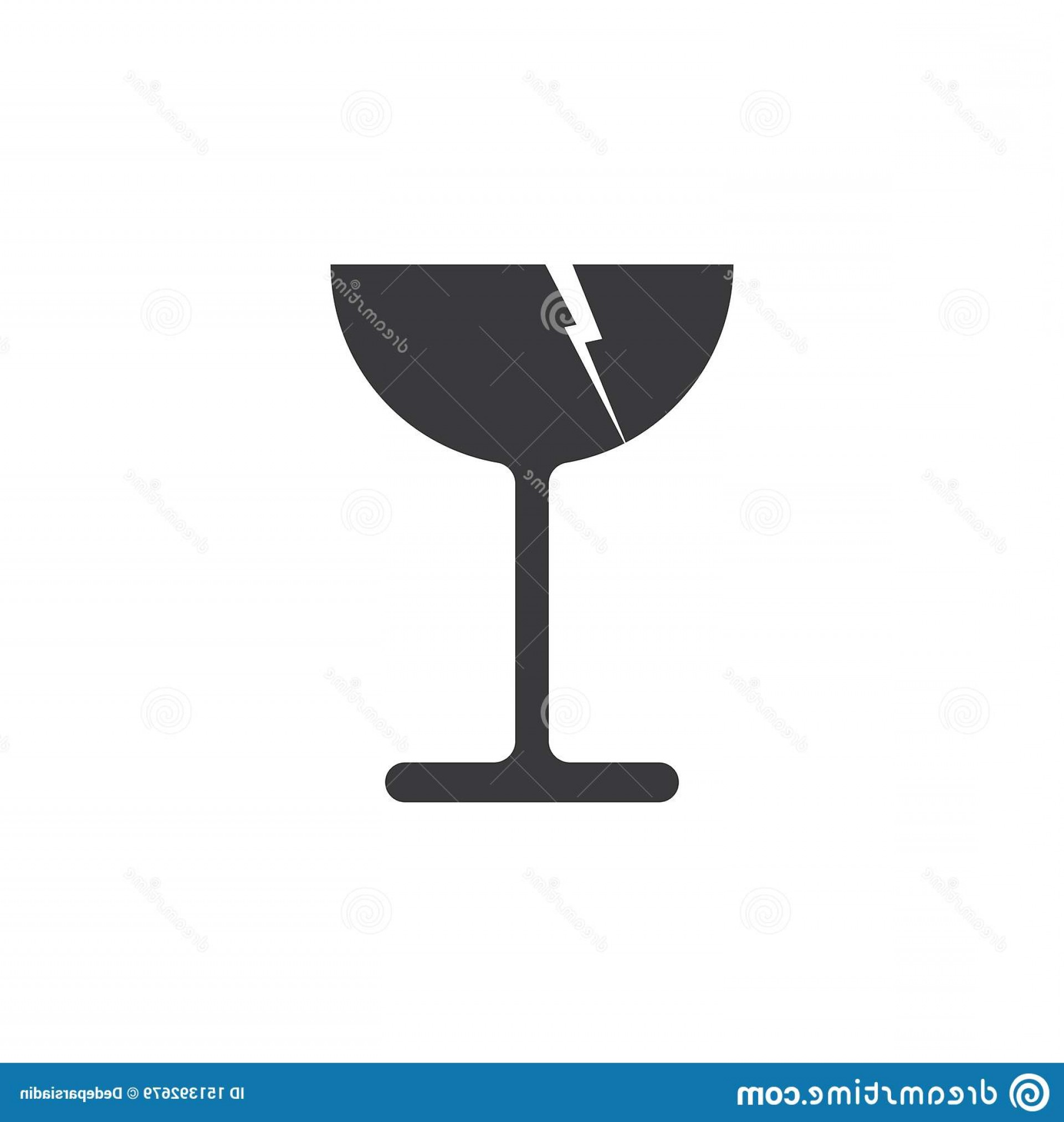 Single Wine Glass Silhouette Vector: Fragile Glass Vector Icon Background White Clean Crystal Isolated Transparent Cup Alcohol Empty Bar Object Blank Beverage Clear Image