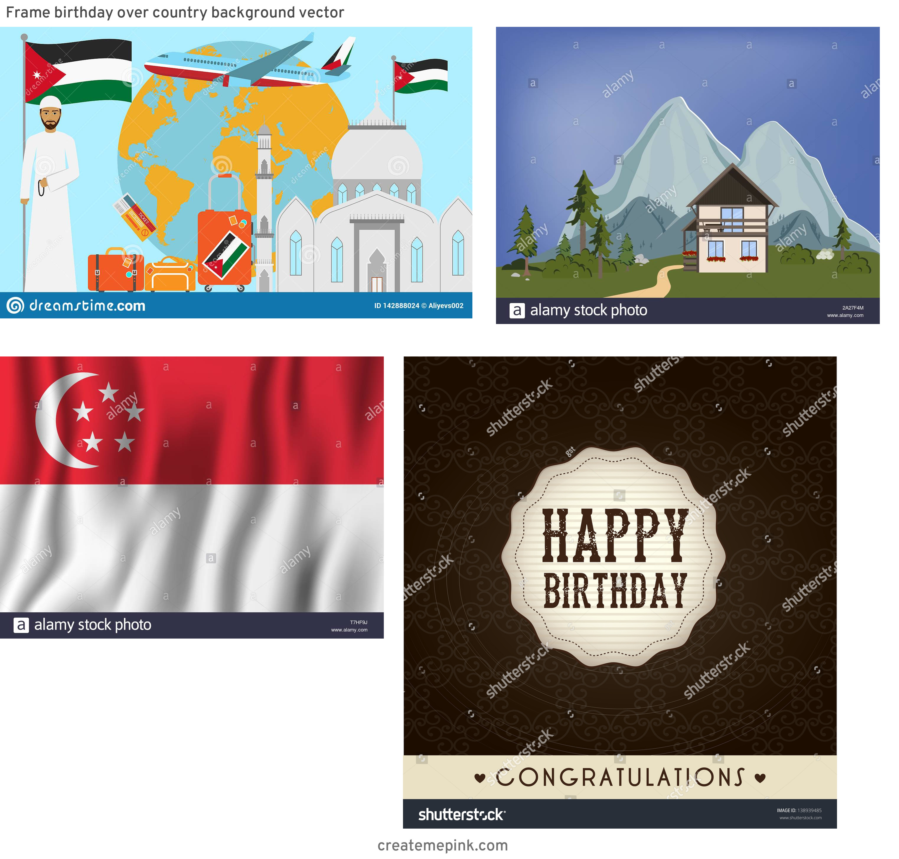 Country Background Vector: Frame Birthday Over Country Background Vector