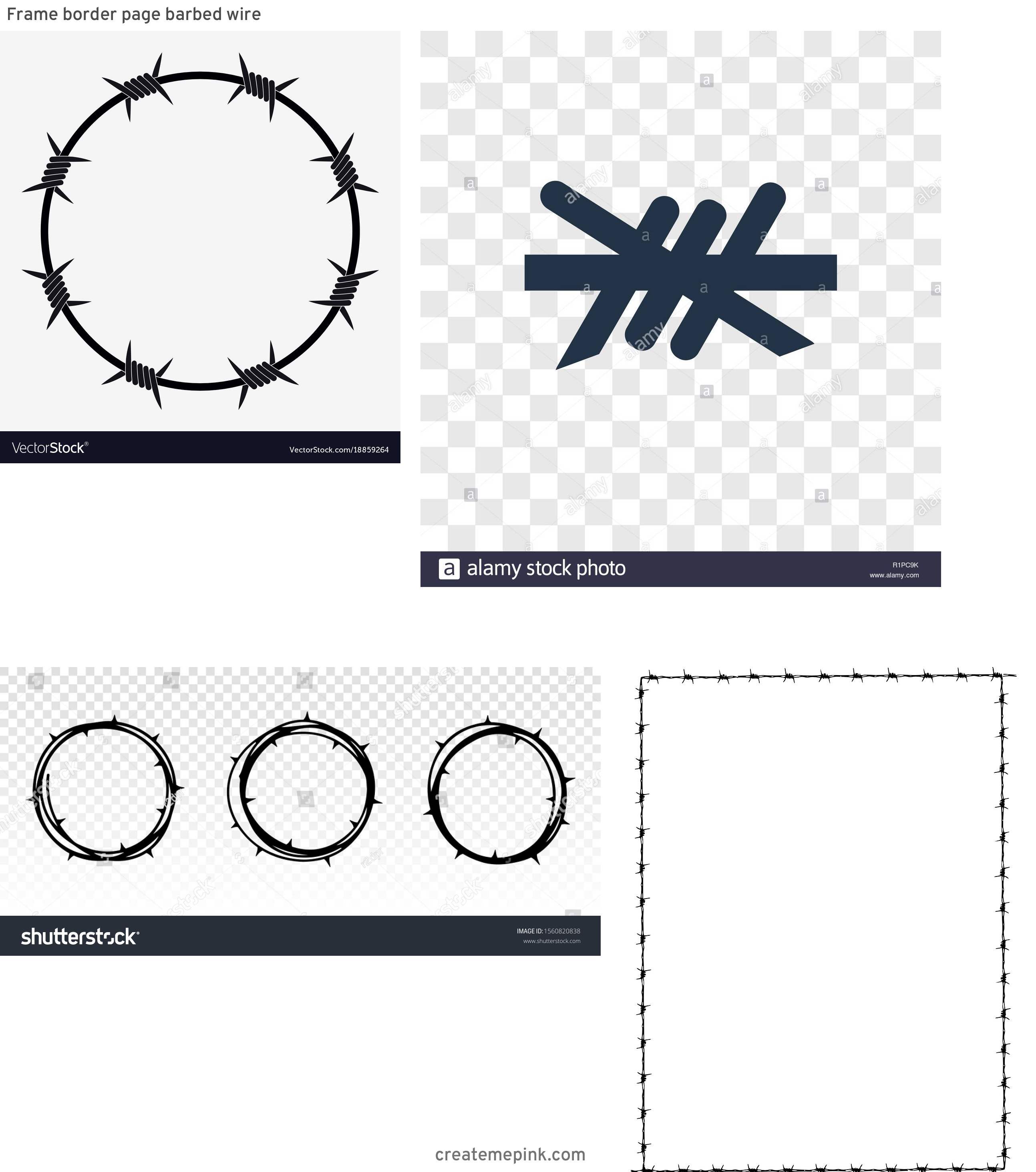 Barb Wire Wreath Vector: Frame Border Page Barbed Wire