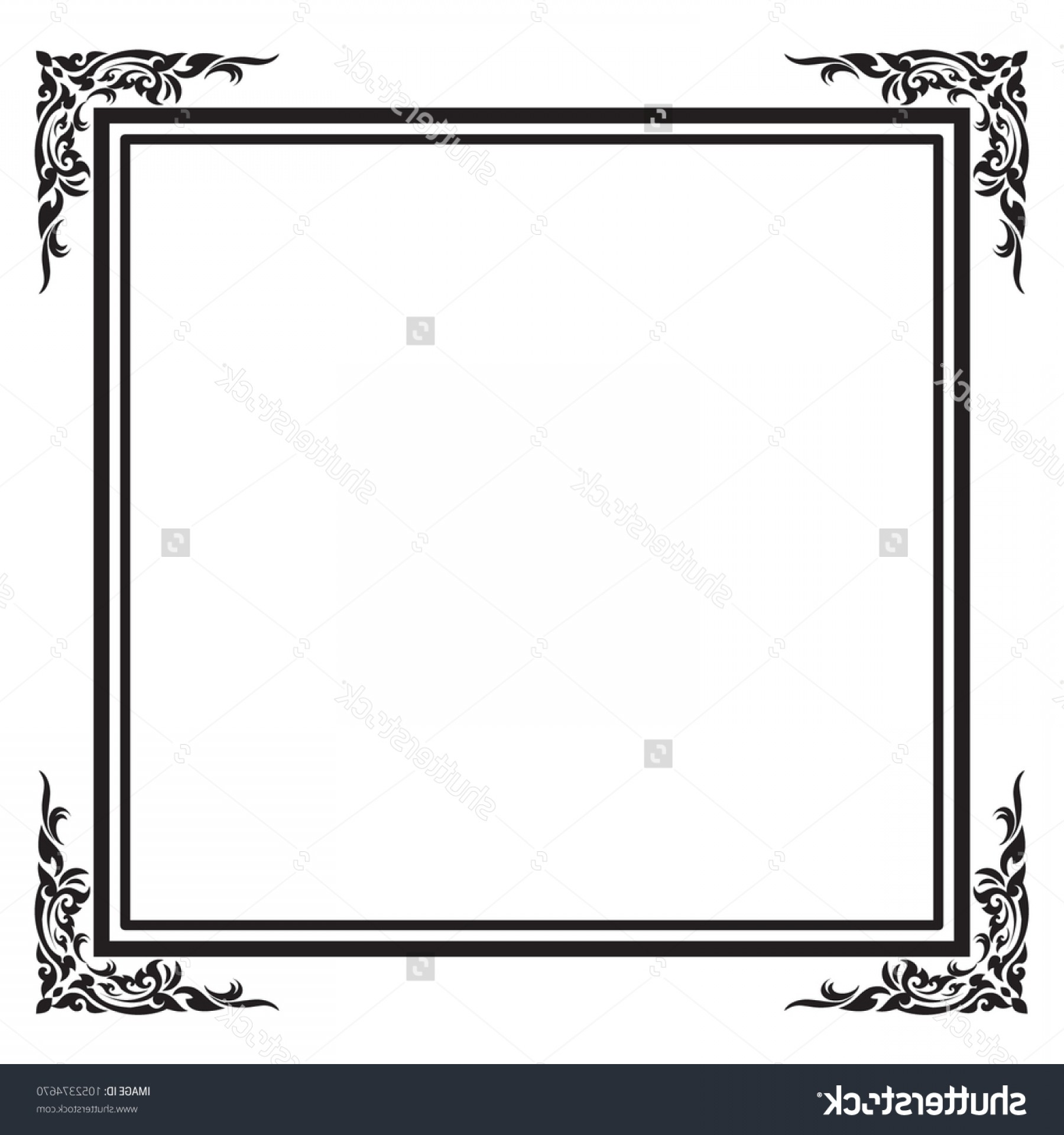 Square Black Vector Border Frame: Frame Border Square Black White Vector