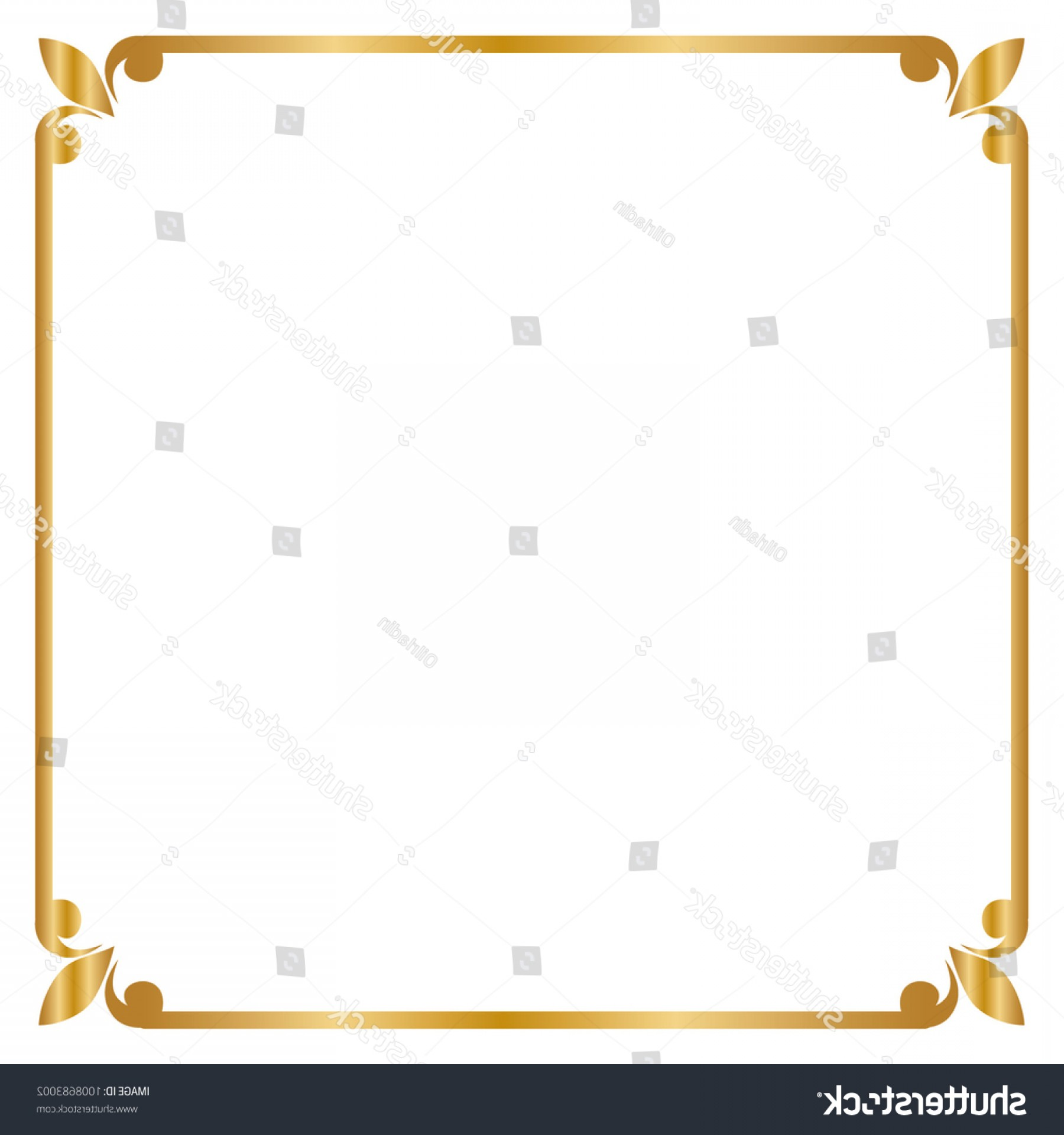 Square Gold Frame Vector PNG: Frame Border Square Golden Vector Illustration