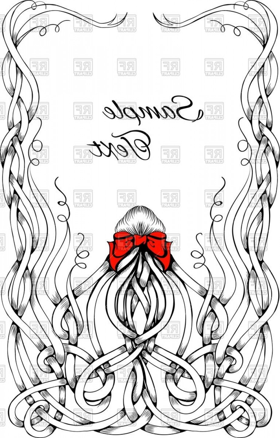 Hair Bow Clip Art Vector: Frame Made Of Long Sketchy Curly Hair With Big Red Bow Vector Clipart