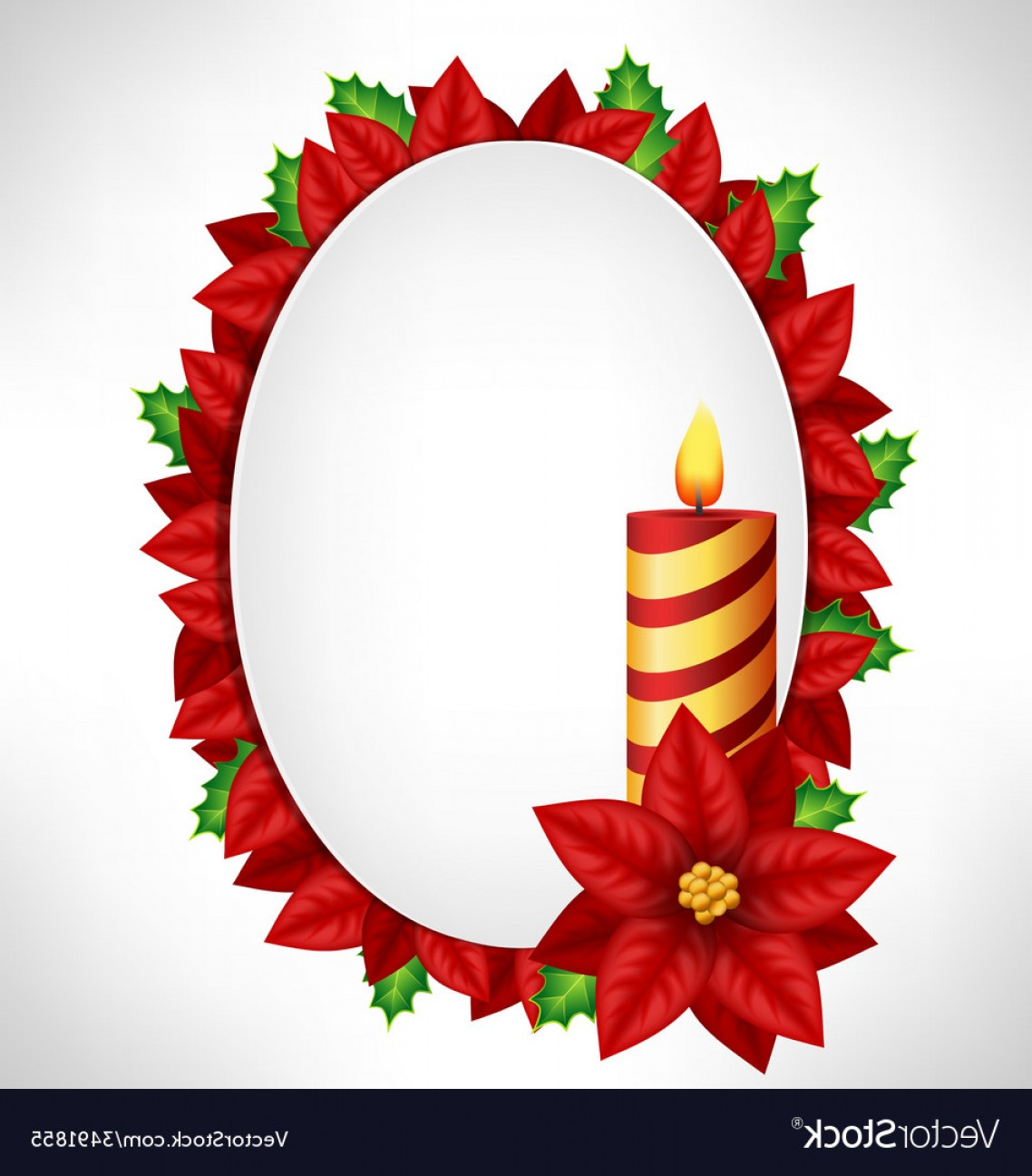 Vector-Based Grayscale Christmas: Frame With Candle And Petals On Grayscale Vector