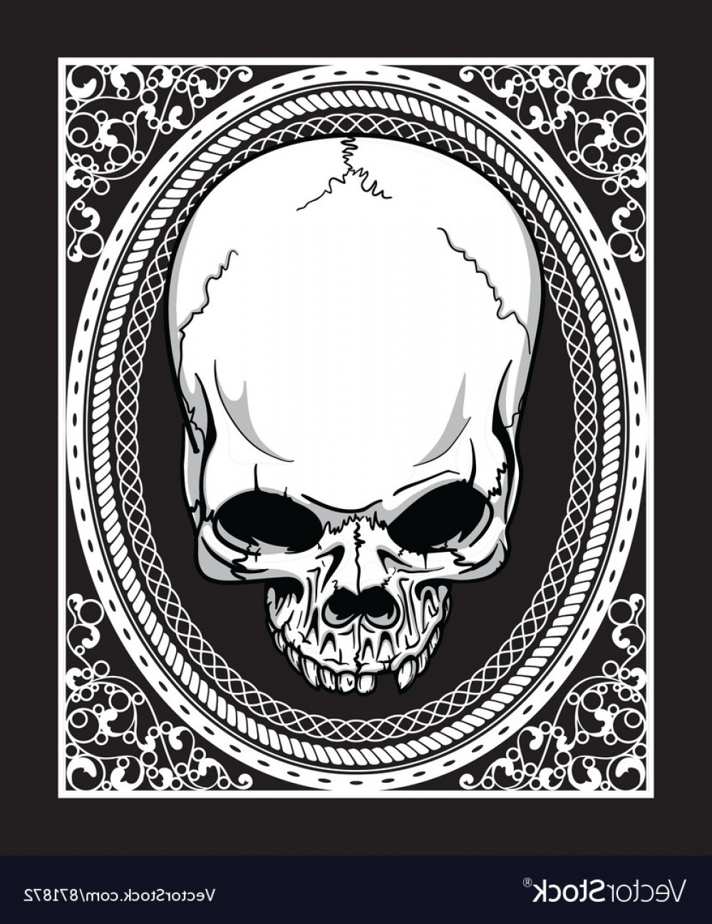 Skull Vector T-shirt Illustration: Frame With Skull Retro T Shirt Design Vector